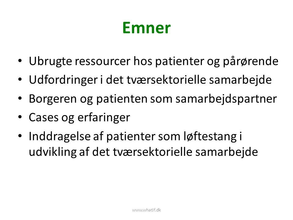 Emner Ubrugte ressourcer hos patienter og pårørende