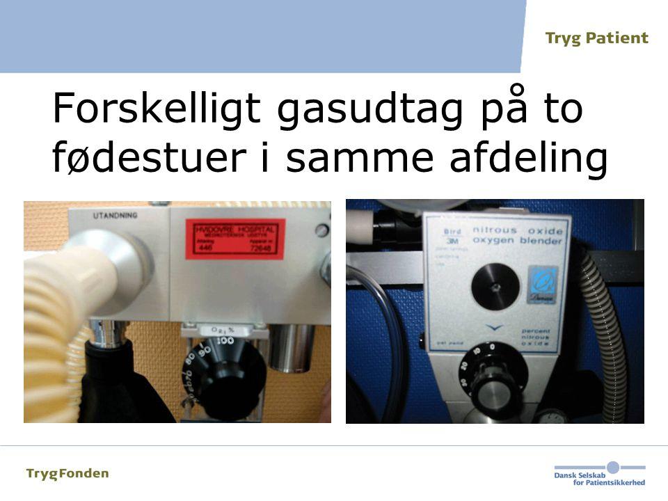 Forskelligt gasudtag på to fødestuer i samme afdeling