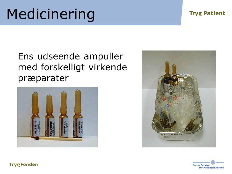 Ens udseende ampuller med forskelligt virkende præparater