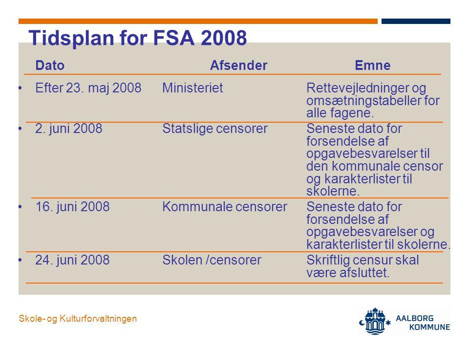 Tidsplan for FSA 2008 Dato Afsender Emne