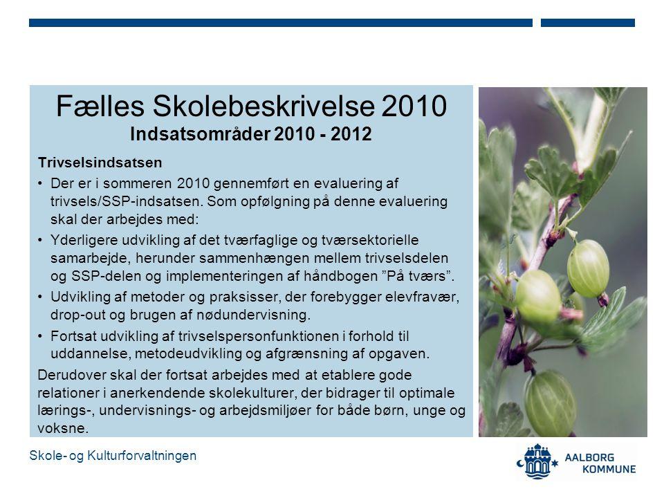 Fælles Skolebeskrivelse 2010 Indsatsområder 2010 - 2012