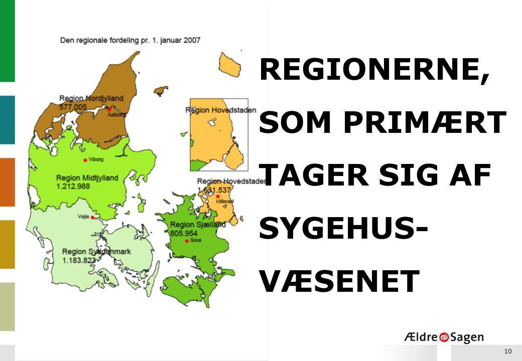 REGIONERNE, SOM PRIMÆRT TAGER SIG AF SYGEHUS-VÆSENET