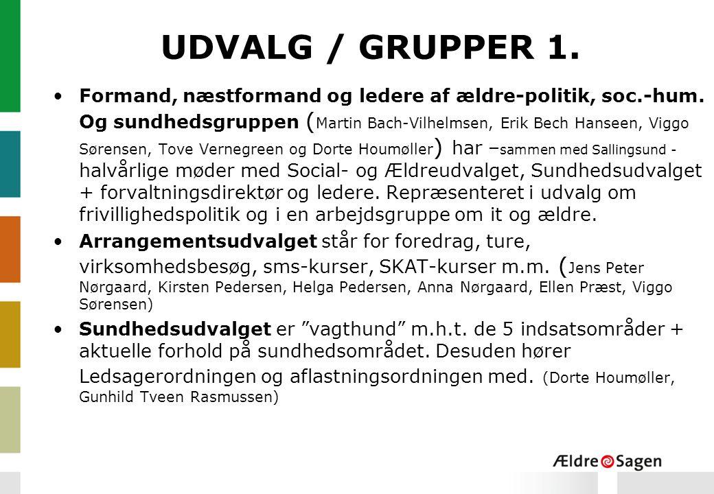 UDVALG / GRUPPER 1.