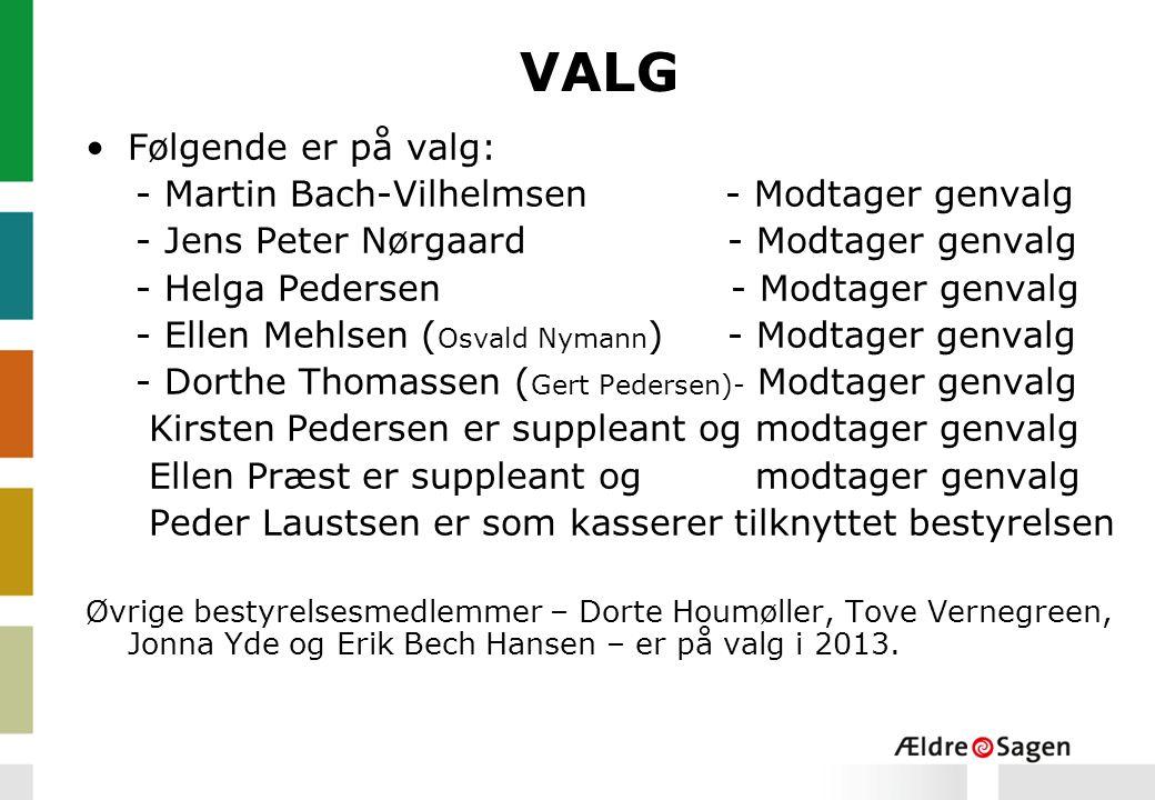 VALG Følgende er på valg: - Martin Bach-Vilhelmsen - Modtager genvalg