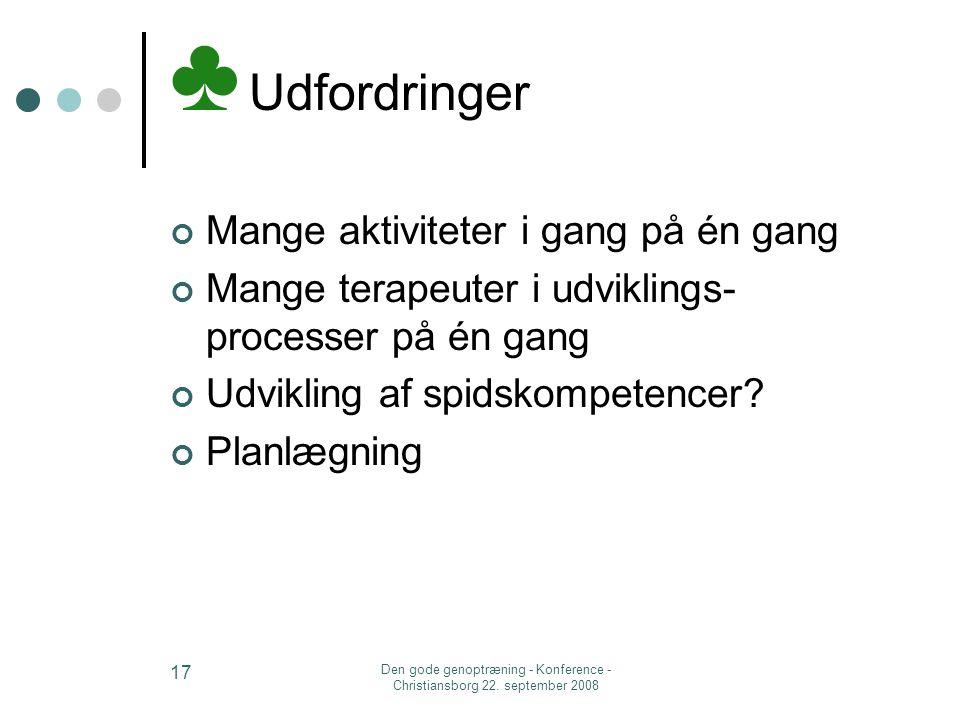 Den gode genoptræning - Konference - Christiansborg 22. september 2008