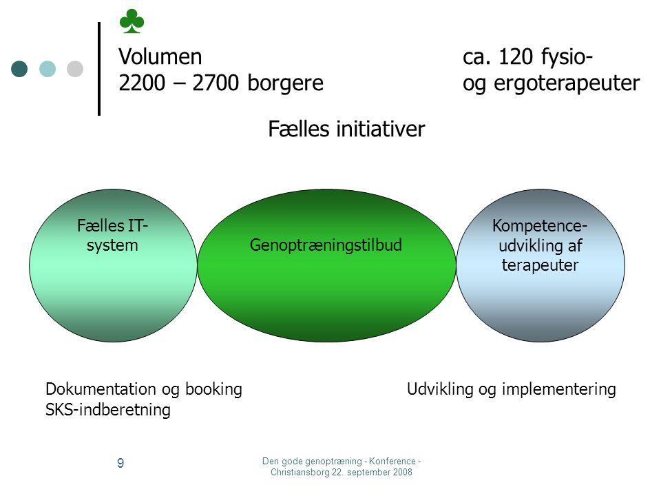 ♣ Volumen ca. 120 fysio- 2200 – 2700 borgere og ergoterapeuter