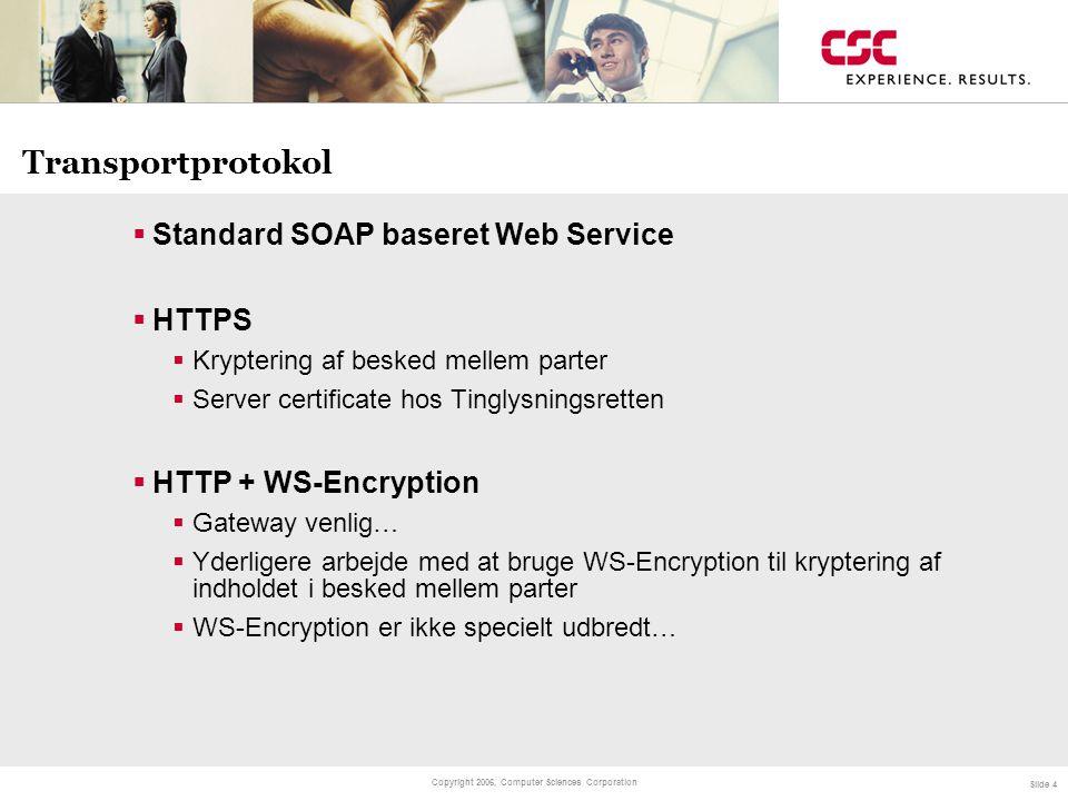 Transportprotokol Standard SOAP baseret Web Service HTTPS