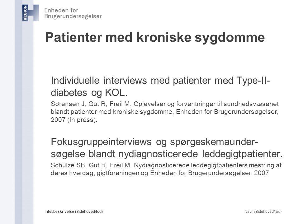 Patienter med kroniske sygdomme