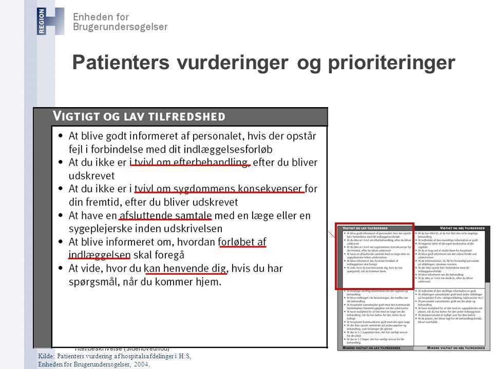 Patienters vurderinger og prioriteringer