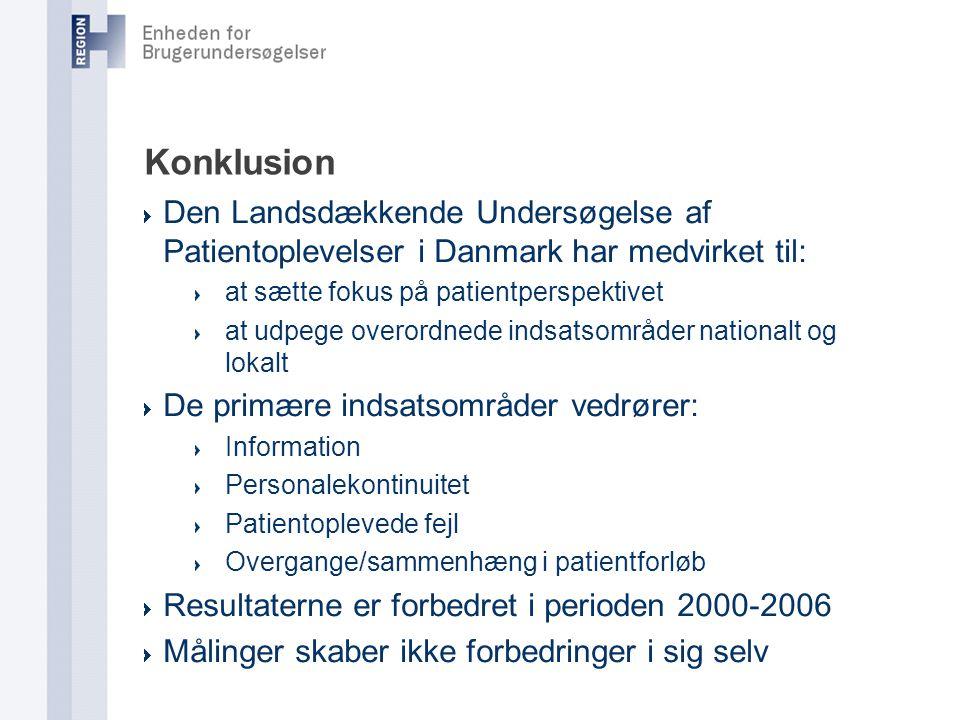 Konklusion Den Landsdækkende Undersøgelse af Patientoplevelser i Danmark har medvirket til: at sætte fokus på patientperspektivet.