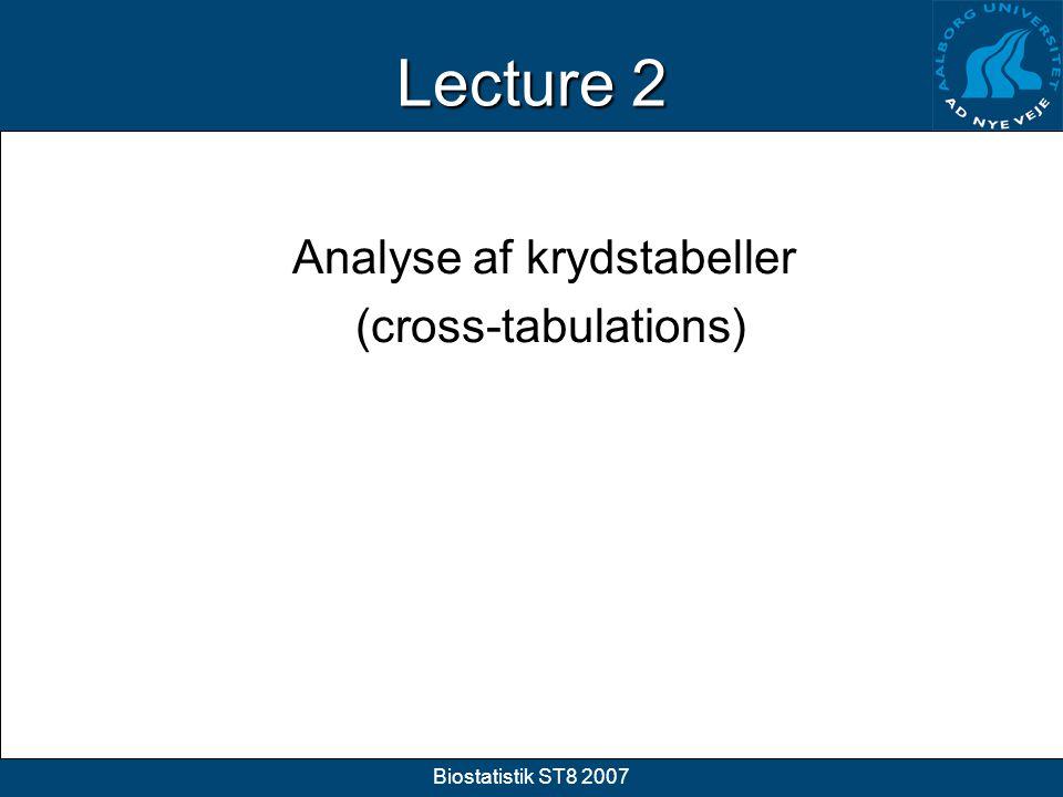 Analyse af krydstabeller (cross-tabulations)