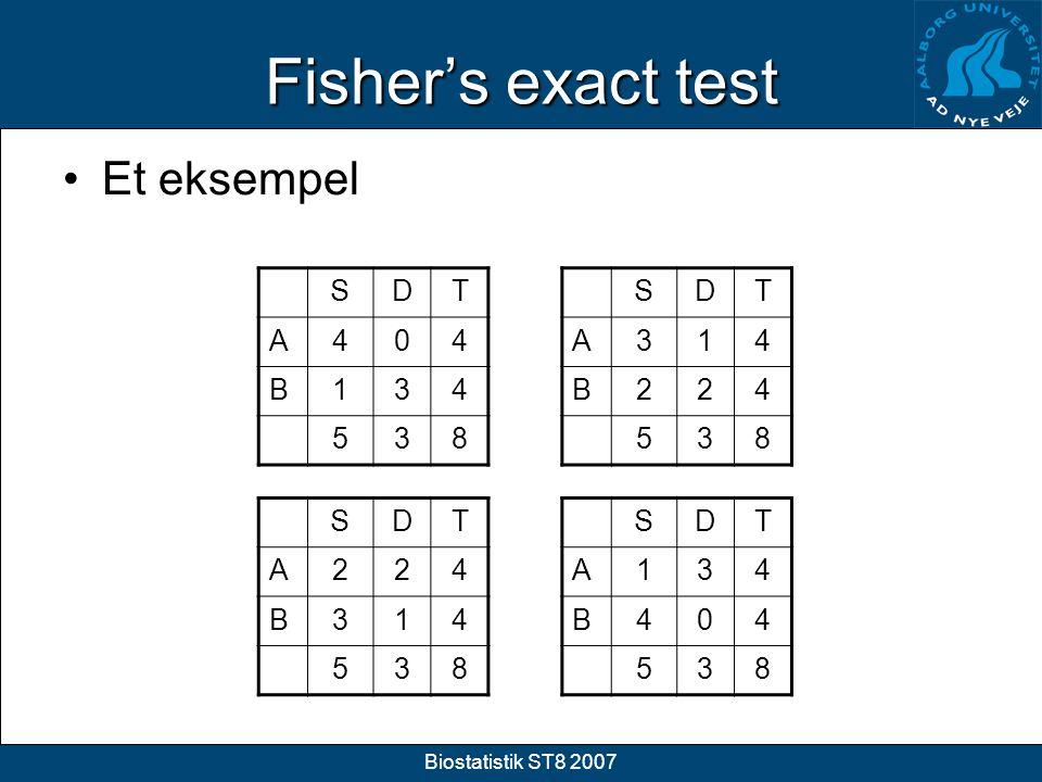 Fisher's exact test Et eksempel S D T A 4 B 1 3 5 8 S D T A 3 1 4 B 2