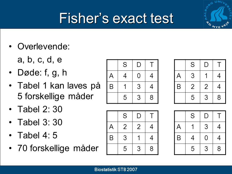 Fisher's exact test Overlevende: a, b, c, d, e Døde: f, g, h