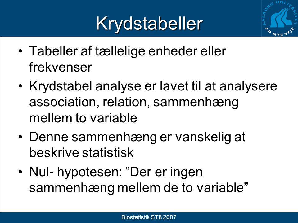 Krydstabeller Tabeller af tællelige enheder eller frekvenser