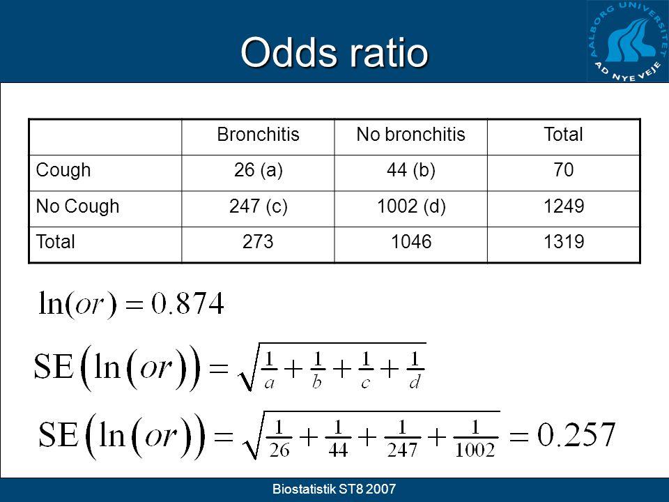 Odds ratio Bronchitis No bronchitis Total Cough 26 (a) 44 (b) 70
