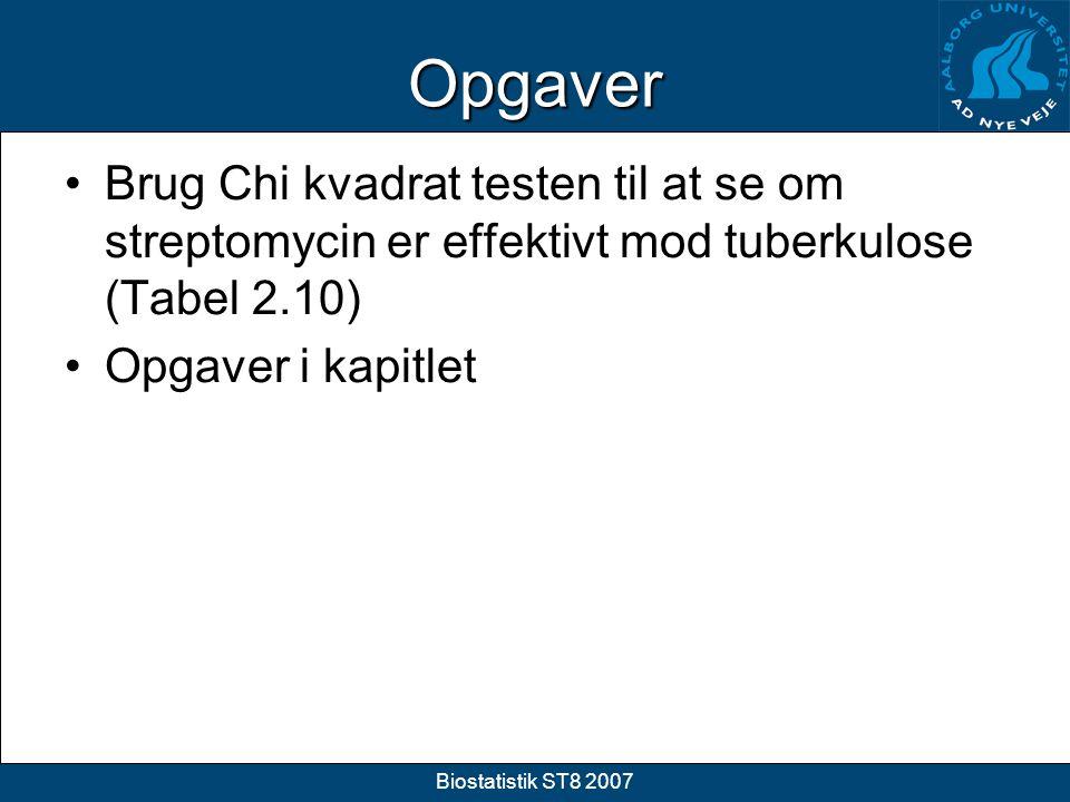 Opgaver Brug Chi kvadrat testen til at se om streptomycin er effektivt mod tuberkulose (Tabel 2.10)