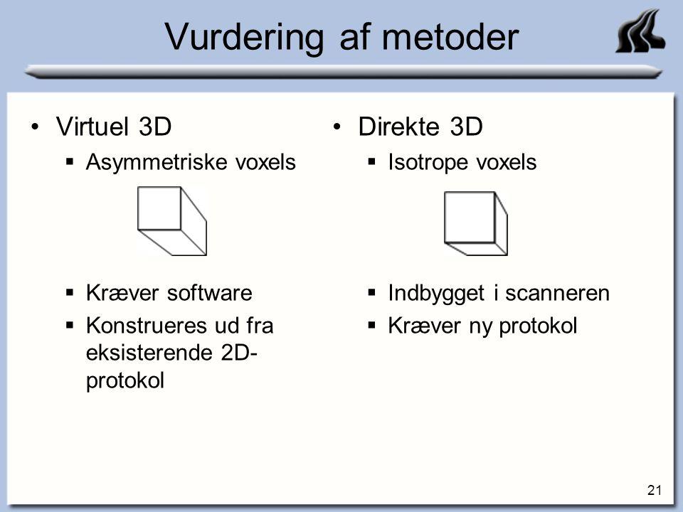 Vurdering af metoder Virtuel 3D Direkte 3D Asymmetriske voxels