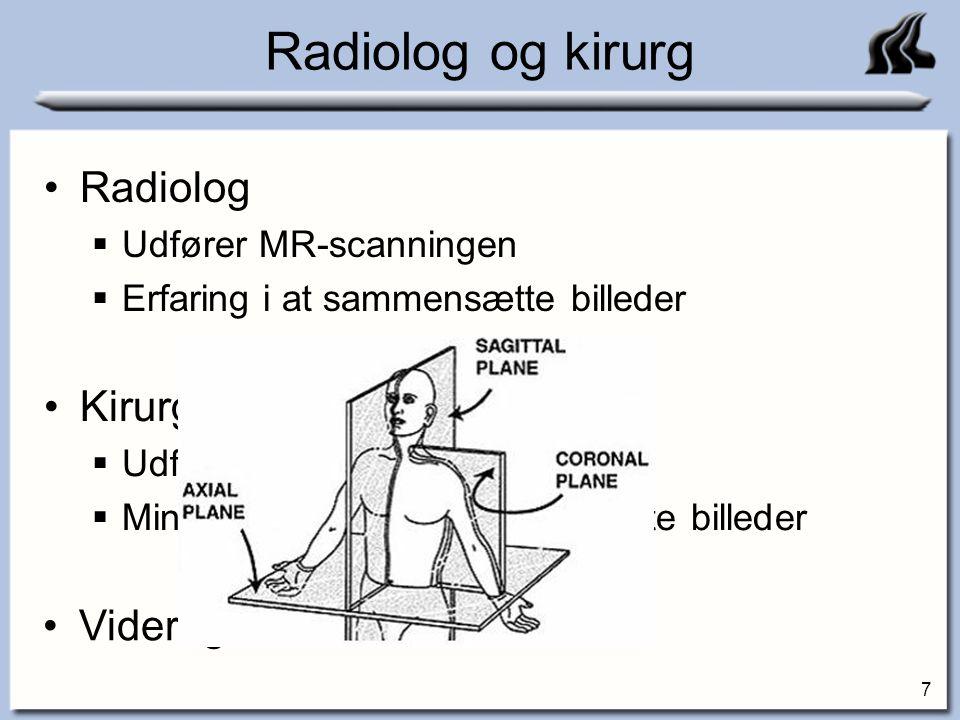 Radiolog og kirurg Radiolog Kirurg Videregivelse af information