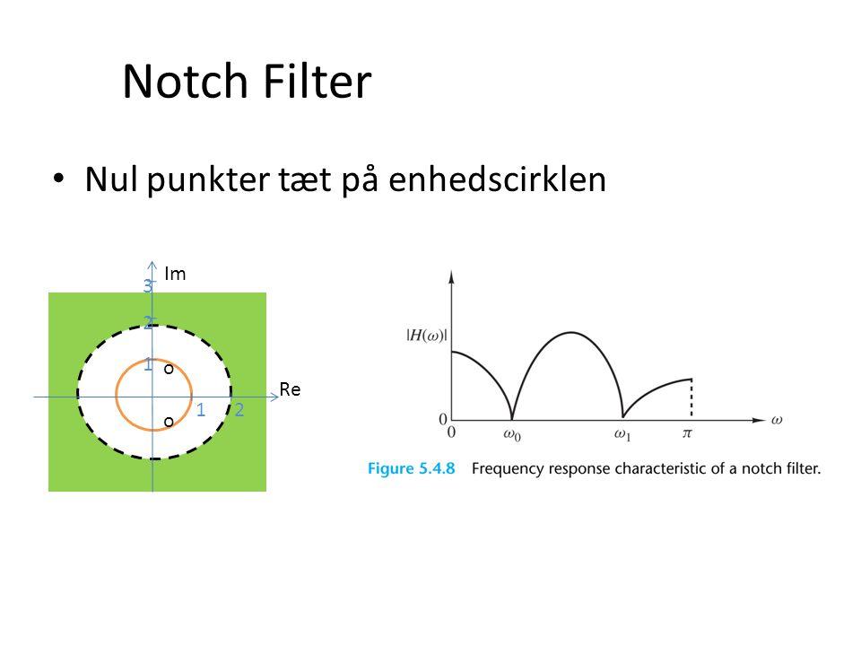Notch Filter Nul punkter tæt på enhedscirklen o Re Im 1 2 3 o o