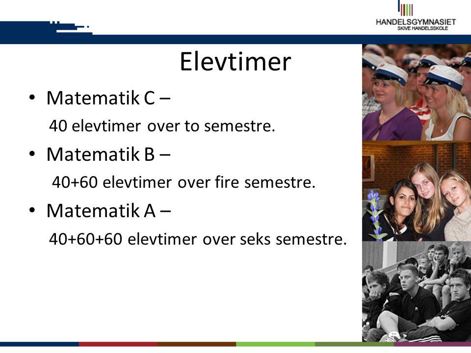 Elevtimer Matematik C – Matematik B – Matematik A –