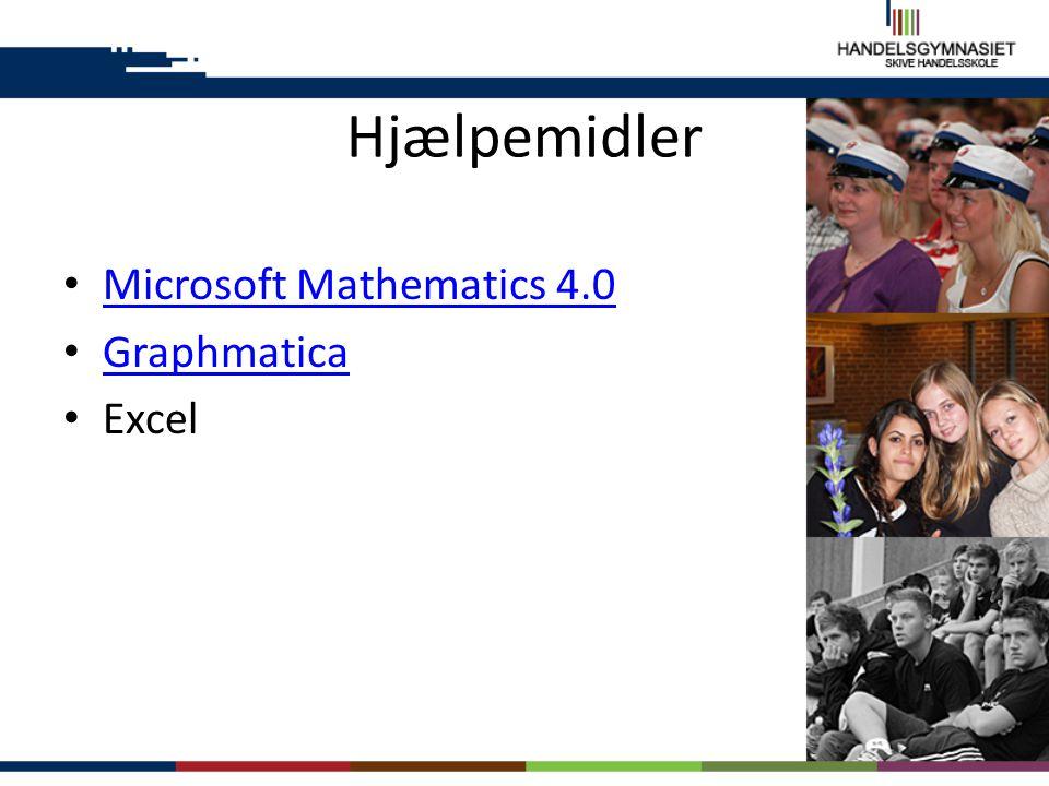 Hjælpemidler Microsoft Mathematics 4.0 Graphmatica Excel