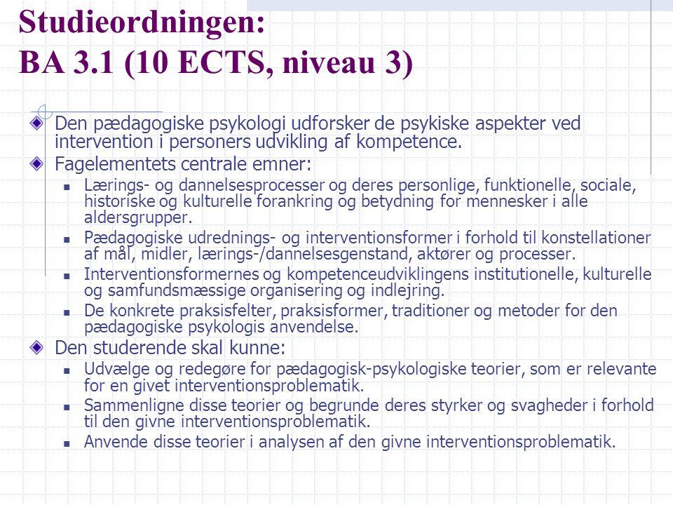 Studieordningen: BA 3.1 (10 ECTS, niveau 3)