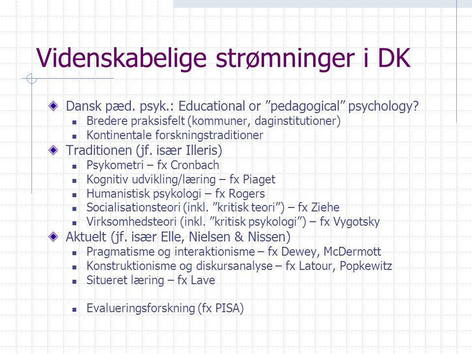 Videnskabelige strømninger i DK