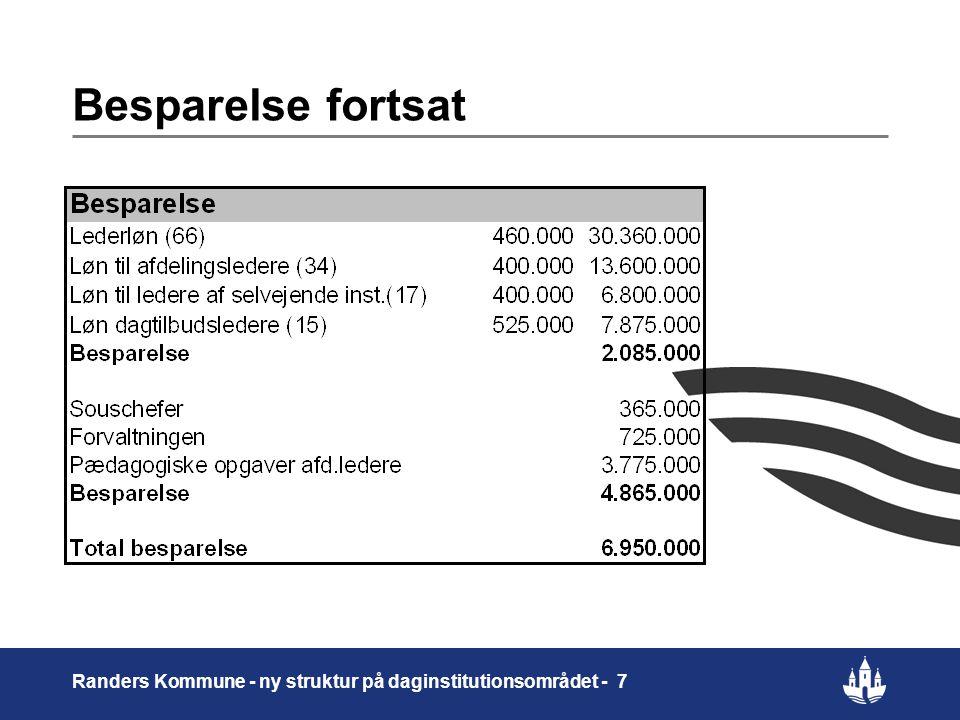 Besparelse fortsat Randers Kommune - ny struktur på daginstitutionsområdet - 7