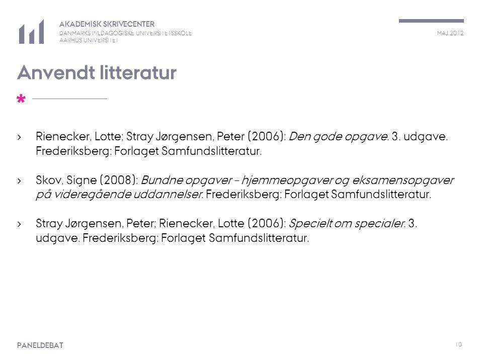 Anvendt litteratur Rienecker, Lotte; Stray Jørgensen, Peter (2006): Den gode opgave. 3. udgave. Frederiksberg: Forlaget Samfundslitteratur.