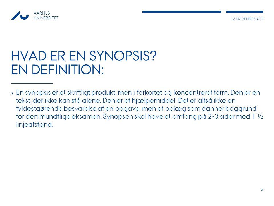 Hvad er en synopsis en definition: