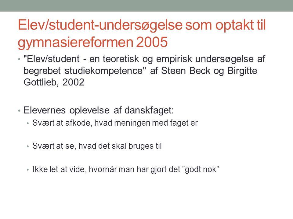 Elev/student-undersøgelse som optakt til gymnasiereformen 2005
