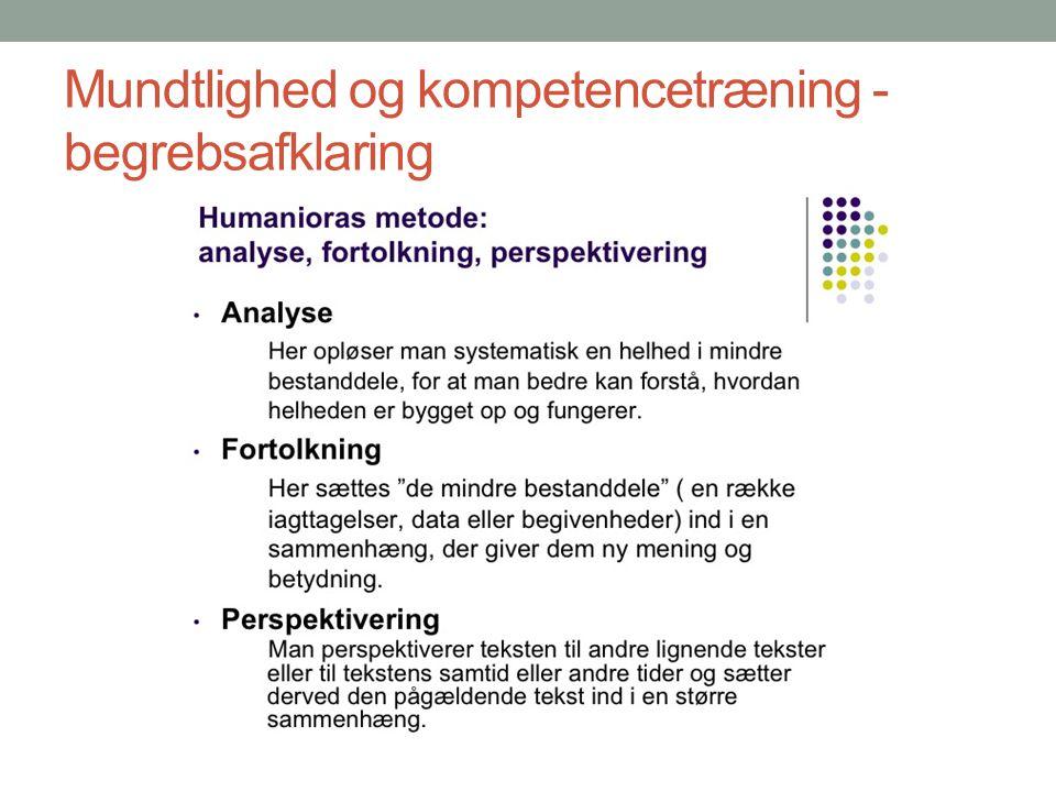 Mundtlighed og kompetencetræning - begrebsafklaring