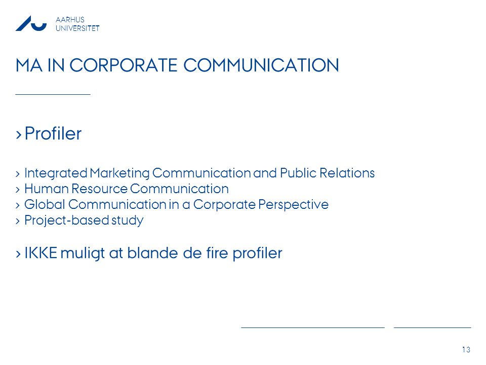 Ma in corporate communication