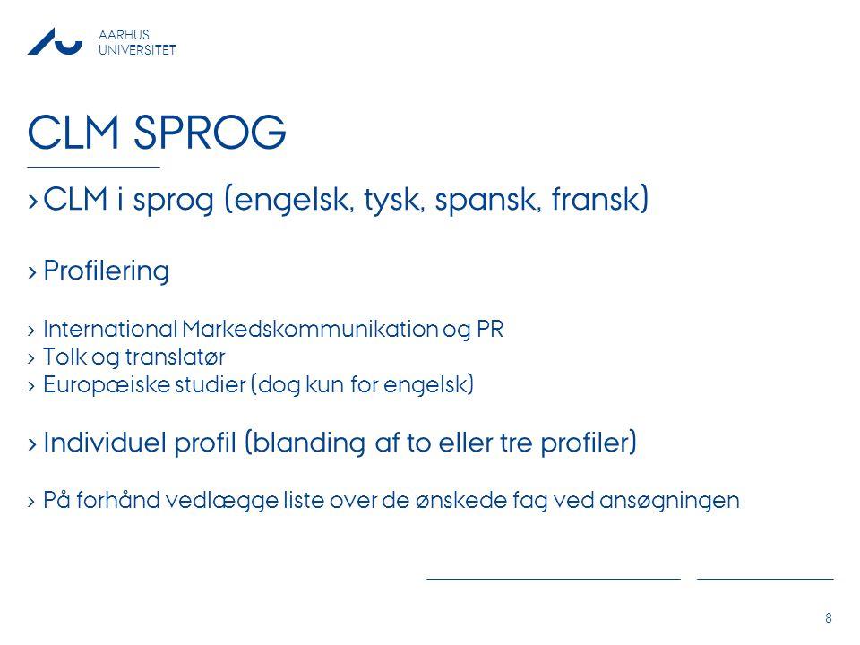 CLM sprog CLM i sprog (engelsk, tysk, spansk, fransk) Profilering