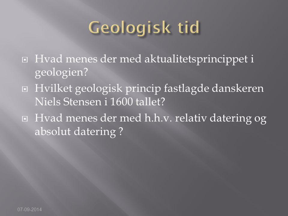 Geologisk tid Hvad menes der med aktualitetsprincippet i geologien