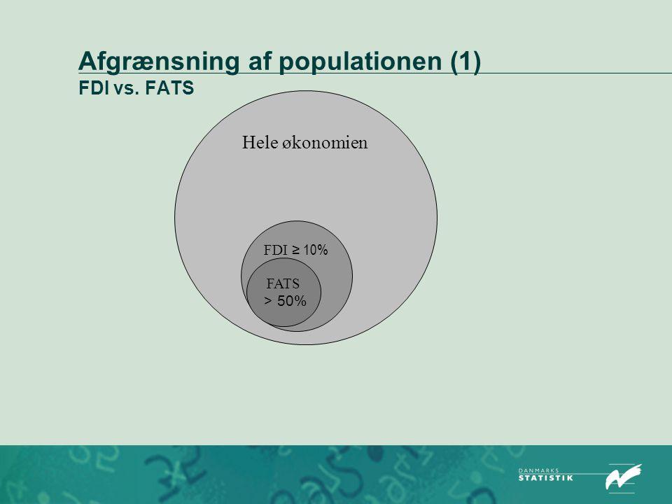 Afgrænsning af populationen (1) FDI vs. FATS