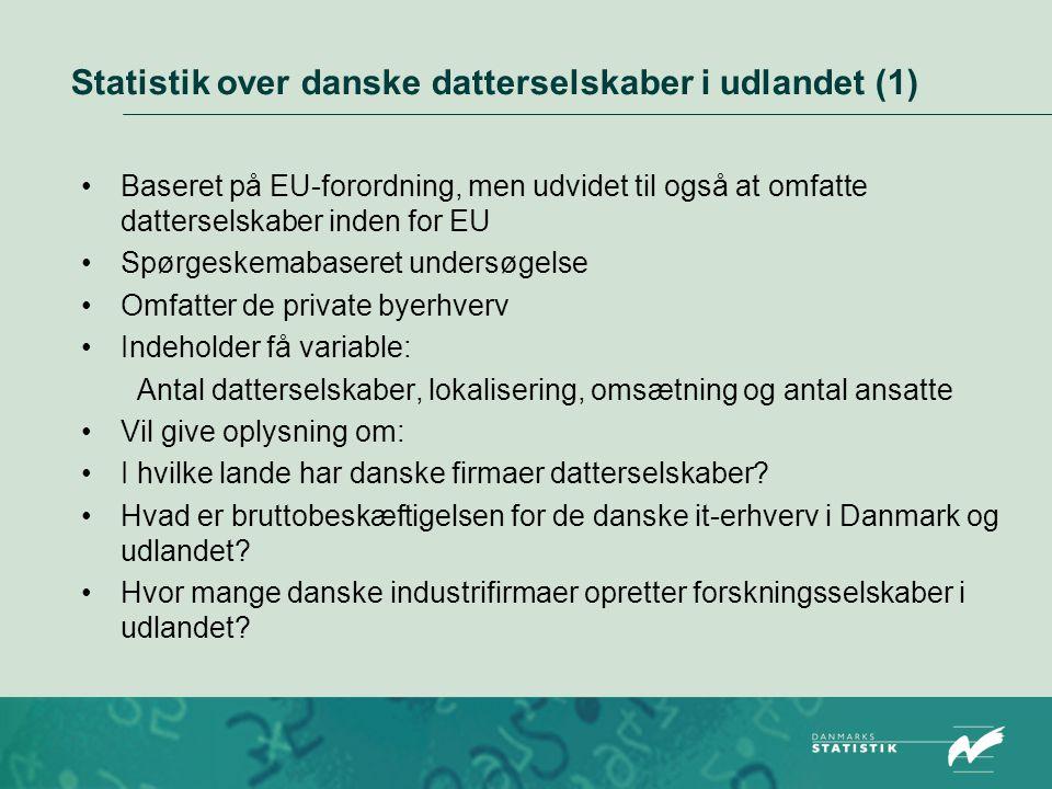 Statistik over danske datterselskaber i udlandet (1)