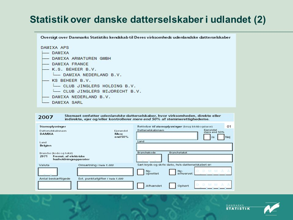 Statistik over danske datterselskaber i udlandet (2)