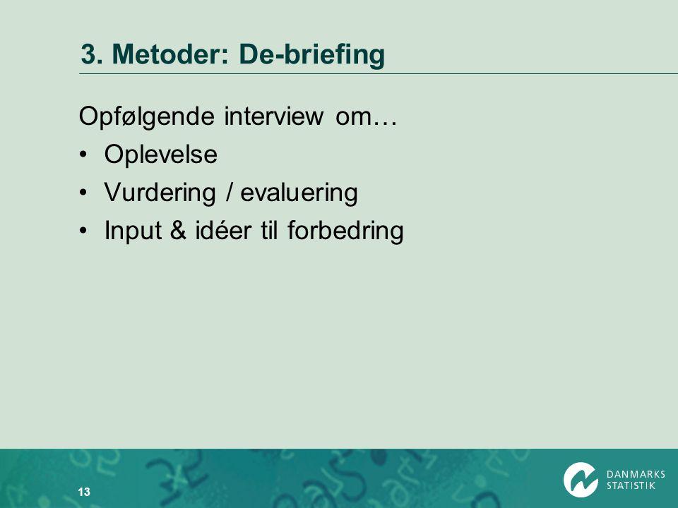 3. Metoder: De-briefing Opfølgende interview om… Oplevelse