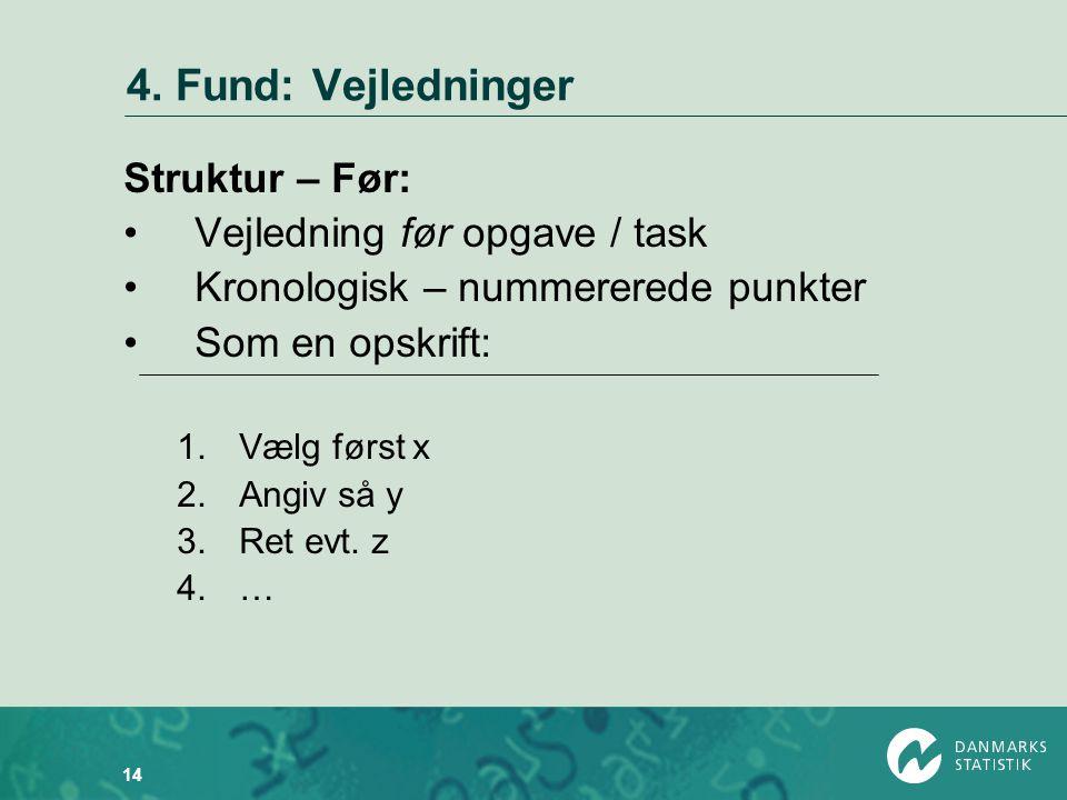 4. Fund: Vejledninger Struktur – Før: Vejledning før opgave / task
