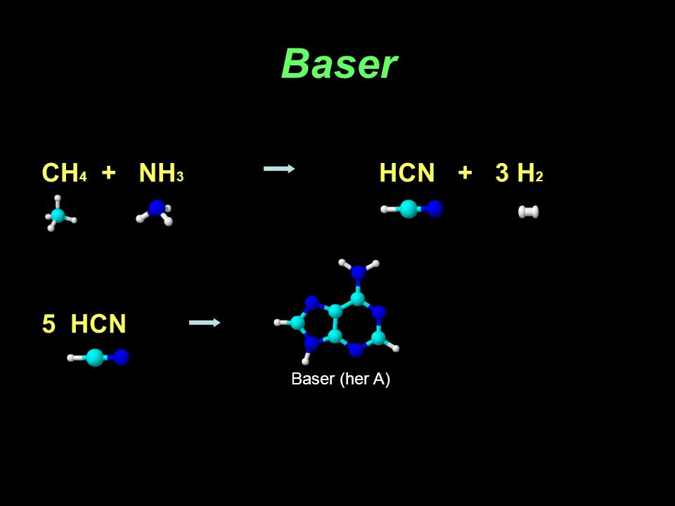 Baser CH4 + NH3 HCN + 3 H2 5 HCN Baser (her A)