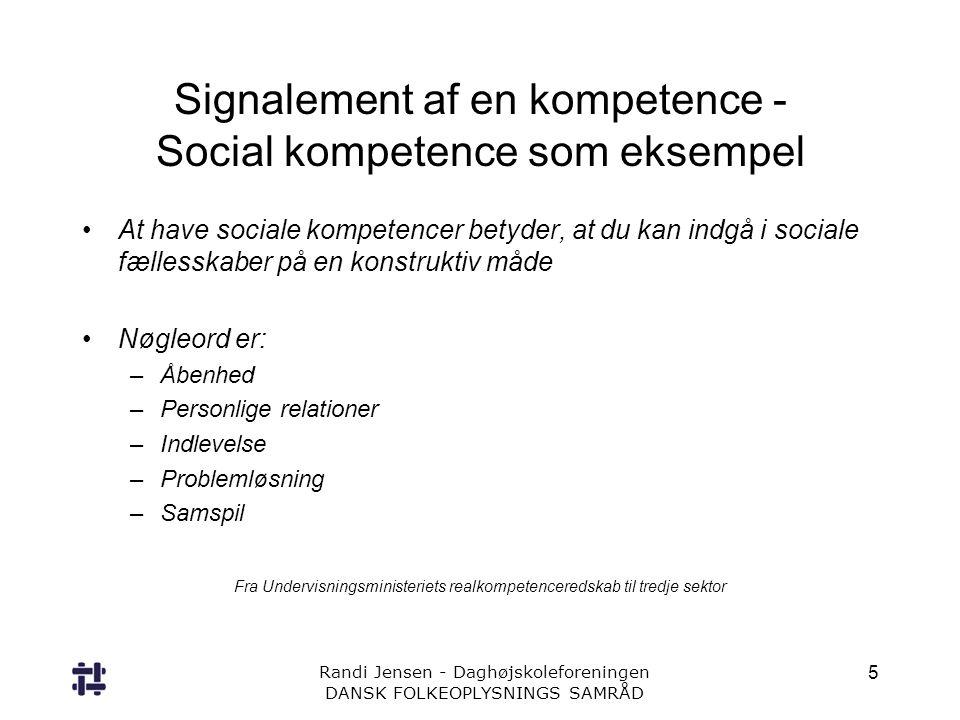 Signalement af en kompetence - Social kompetence som eksempel