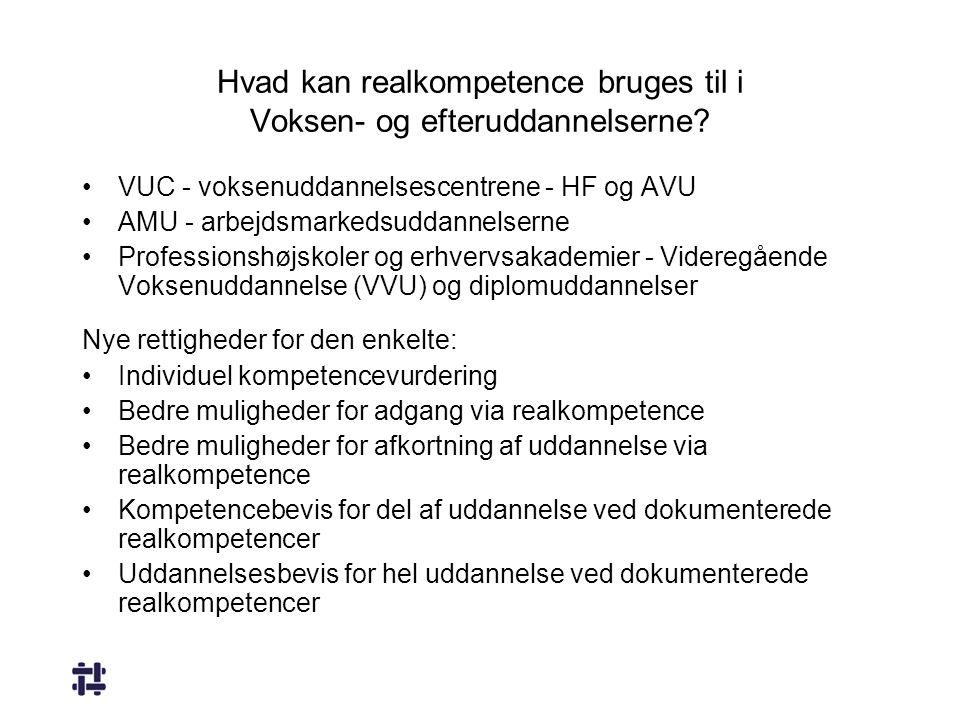 Hvad kan realkompetence bruges til i Voksen- og efteruddannelserne