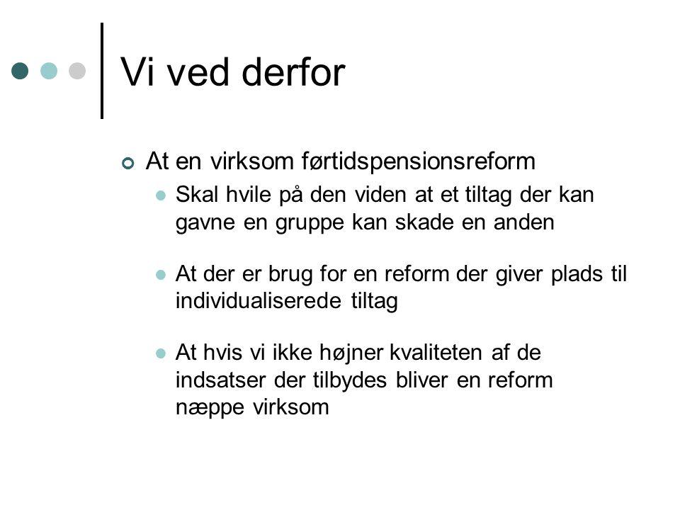 Vi ved derfor At en virksom førtidspensionsreform