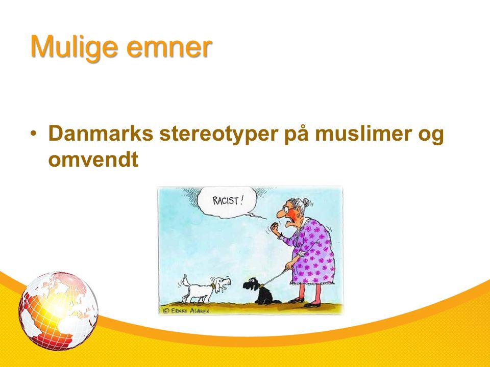 Mulige emner Danmarks stereotyper på muslimer og omvendt