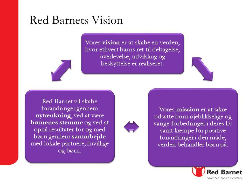 Red Barnets Vision Vores vision er at skabe en verden, hvor ethvert barns ret til deltagelse, overlevelse, udvikling og beskyttelse er realiseret.
