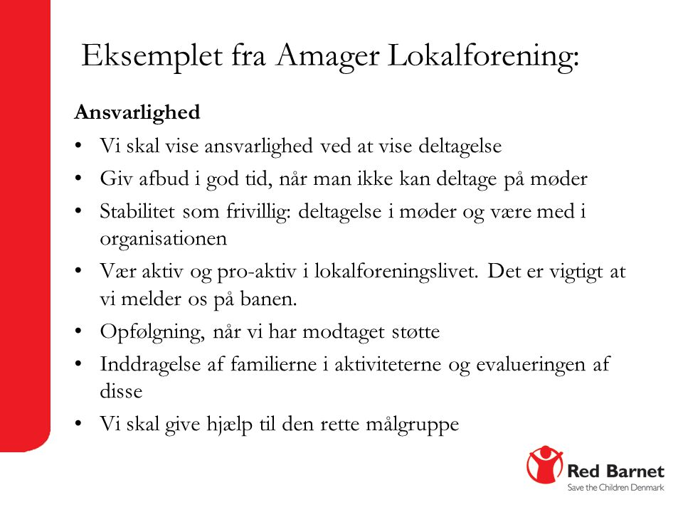 Eksemplet fra Amager Lokalforening:
