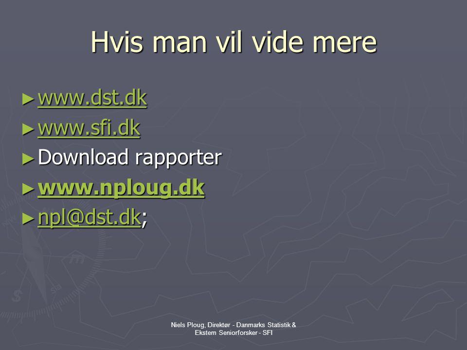 Hvis man vil vide mere www.dst.dk www.sfi.dk Download rapporter