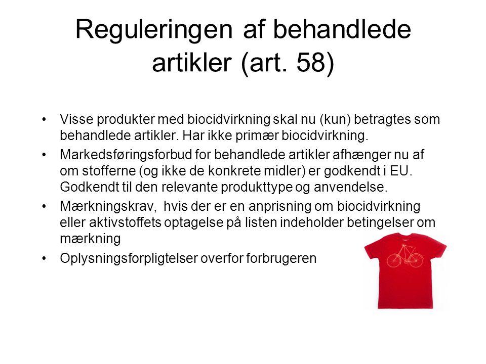 Reguleringen af behandlede artikler (art. 58)
