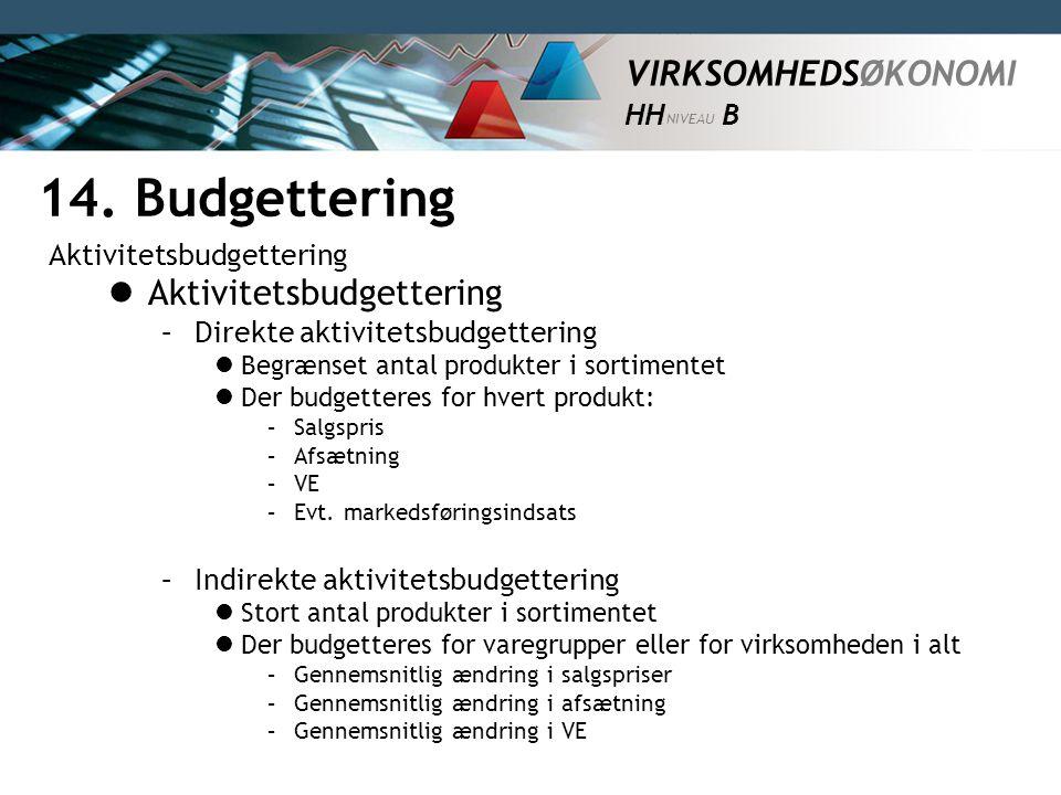 14. Budgettering Aktivitetsbudgettering Aktivitetsbudgettering